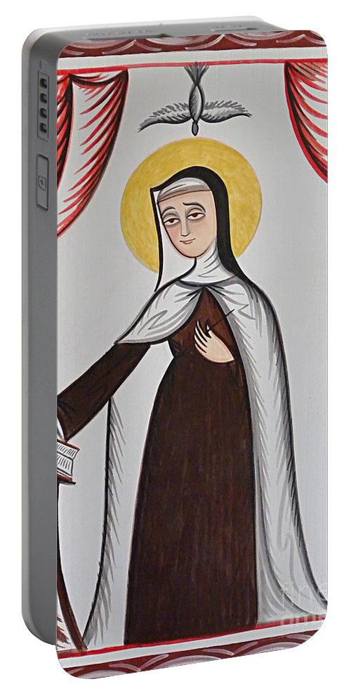Santa Teresa De Avila - St. Teresa Of Avila Portable Battery Charger featuring the painting Santa Teresa De Avila - St. Teresa Of Avila - Aotda by Br Arturo Olivas OFS