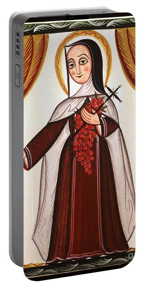 Santa Teresa De Lisieux - St. Th�r�se Of Lisieux Portable Battery Charger featuring the painting Santa Teresa De Lisieux - St. Therese Of Lisieux - Aotel by Br Arturo Olivas OFS