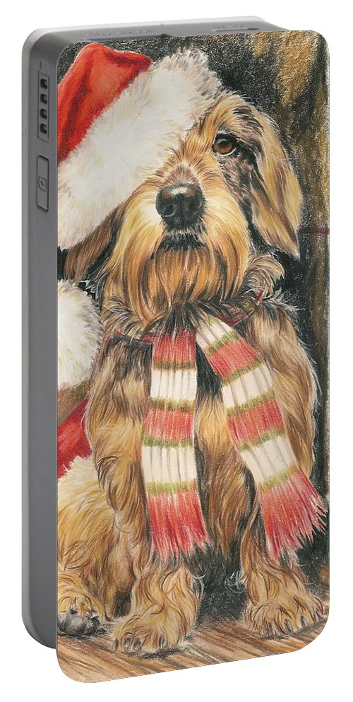 Hound Group Portable Battery Charger featuring the drawing Santas Little Yelper by Barbara Keith