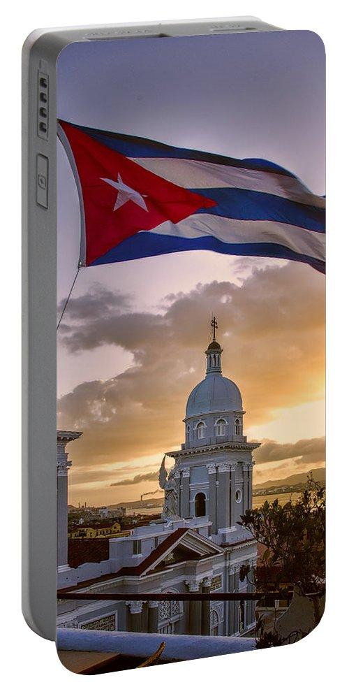 Cuba Portable Battery Charger featuring the photograph Santiago De Cuba Dusk by Claude LeTien