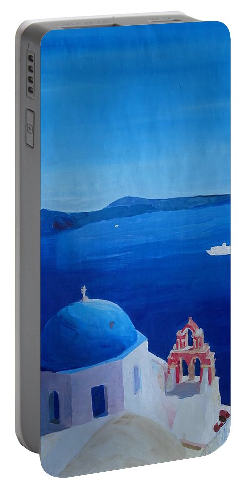 Santorin Portable Battery Charger featuring the painting Santorini Greece View From Oia To Caldera by M Bleichner