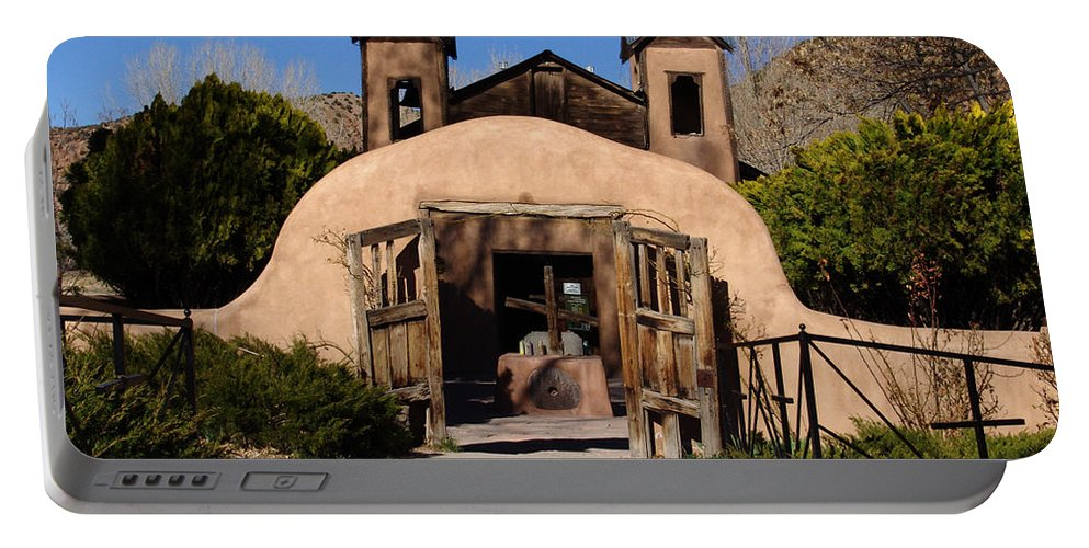 Church Portable Battery Charger featuring the photograph Santuario De Chimayo Adobe Chapel by Carol Milisen