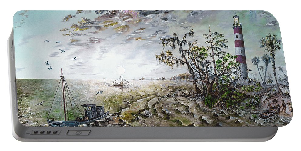 Lighthouse Portable Battery Charger featuring the painting Sapelo Island by Richard Barham