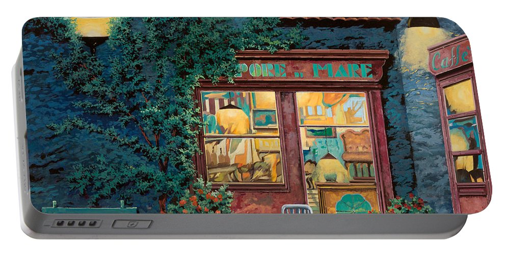 Courtyard Portable Battery Charger featuring the painting Sapore Di Mare by Guido Borelli