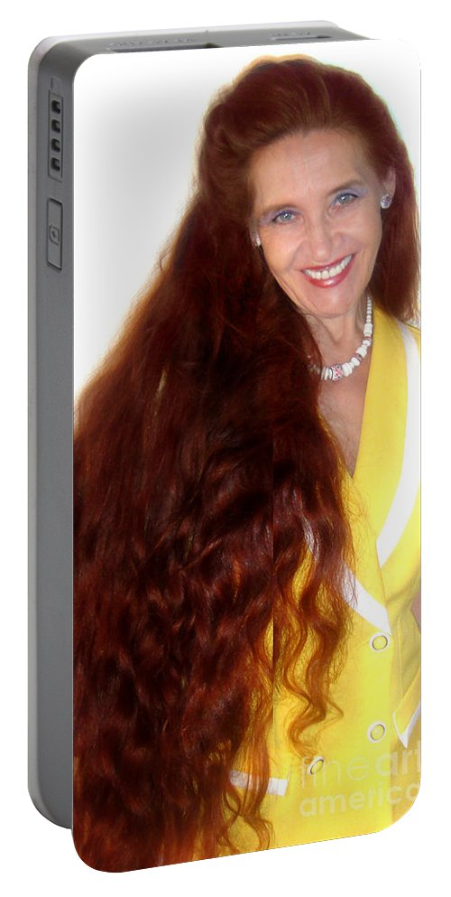Sarah Portable Battery Charger featuring the photograph Sarah Goldberg. Super long red hair by Sofia Metal Queen