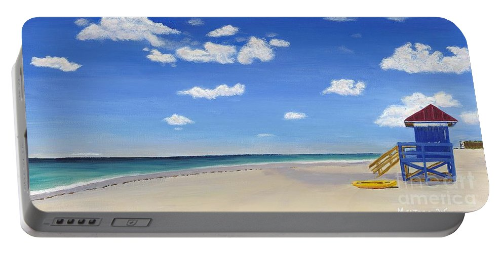 Landscape Portable Battery Charger featuring the painting Sarasota Beach by Melissa Wallace