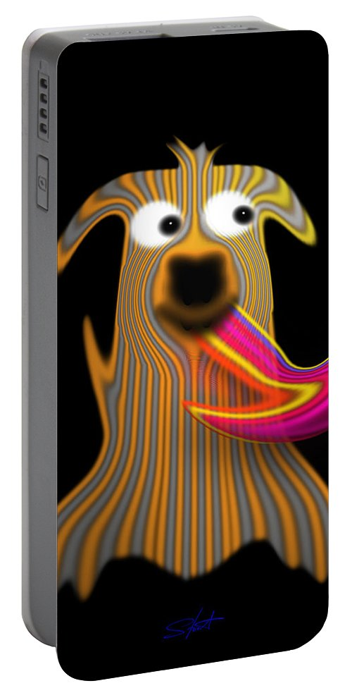 Dog. Puppy Portable Battery Charger featuring the painting Sartorial Pooch by Charles Stuart