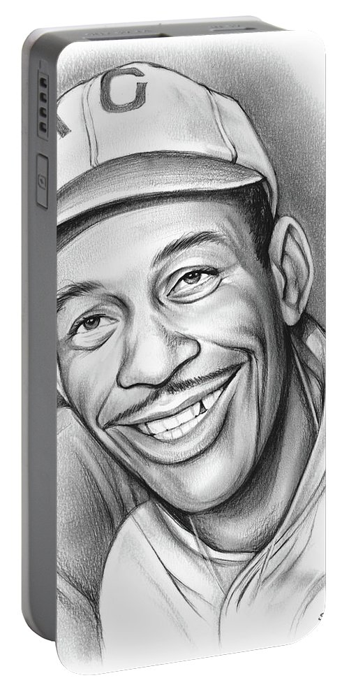 Satchel Paige Portable Battery Charger featuring the drawing Satchel Paige II by Greg Joens