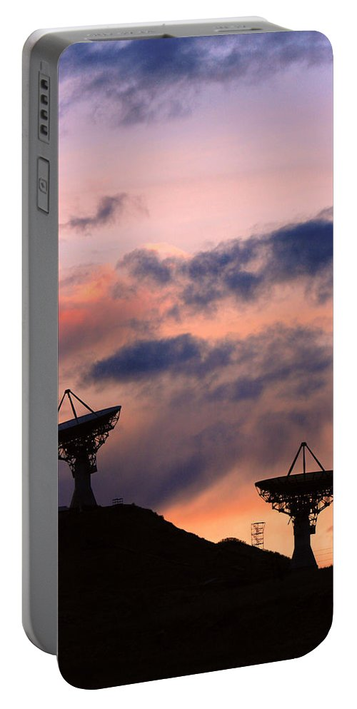 Antenna Portable Battery Charger featuring the photograph Satellite Sunset by James BO Insogna