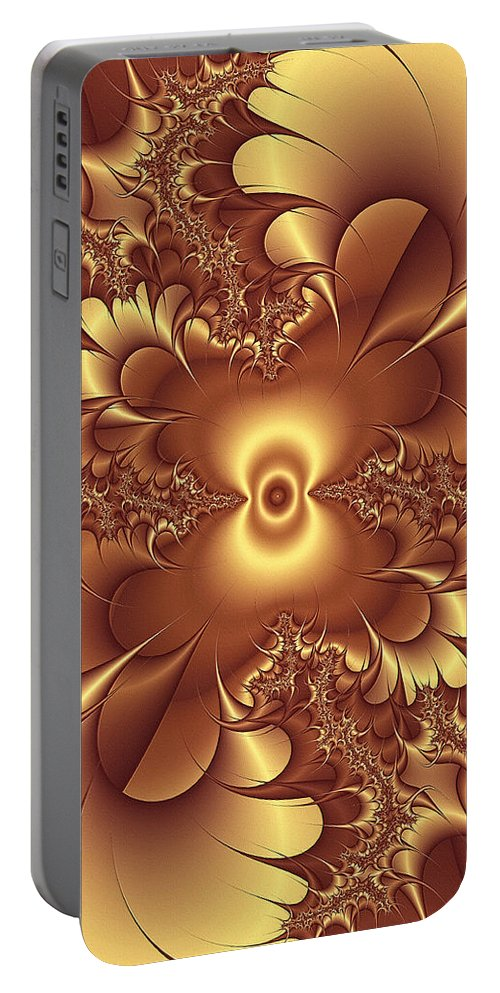 Gold Portable Battery Charger featuring the digital art Satin And Lace by Georgiana Romanovna