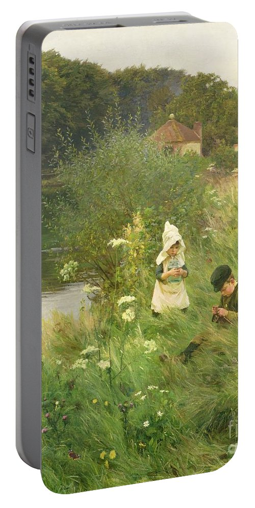 Saturday Portable Battery Charger featuring the painting Saturday Afternoon by Gunning King