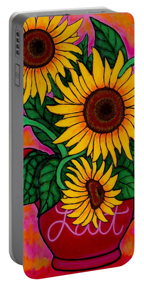 Sunflowers Portable Battery Charger featuring the painting Saturday Morning Sunflowers by Lisa Lorenz
