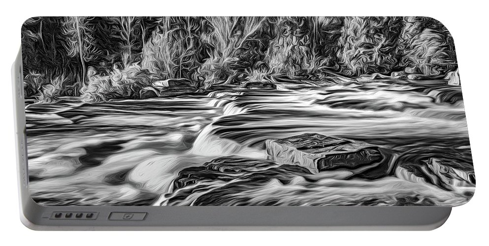 River Portable Battery Charger featuring the photograph Sauble Falls Autumn Evening 3 - Paint Bw by Steve Harrington
