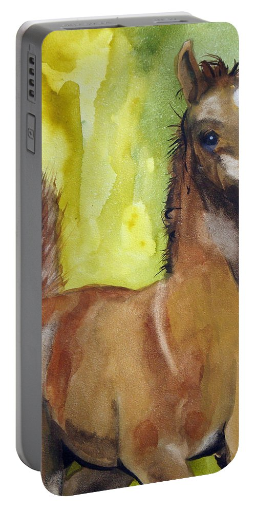 Filly Portable Battery Charger featuring the painting Saucy by Jean Blackmer