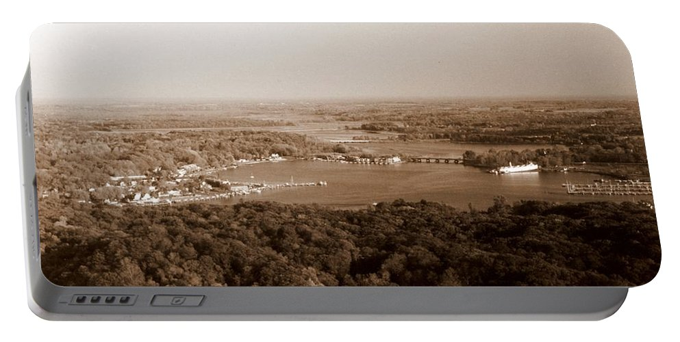 Saugatuck Portable Battery Charger featuring the photograph Saugatuck Michigan Harbor Aerial Photograph by Michelle Calkins