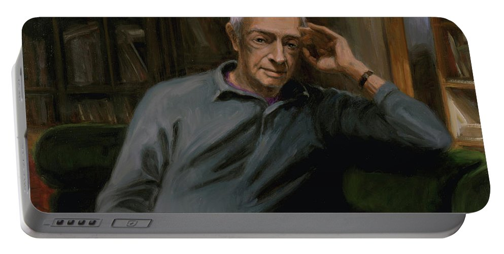 Saul Bellow Portable Battery Charger featuring the painting Saul Bellow by Sarah Yuster