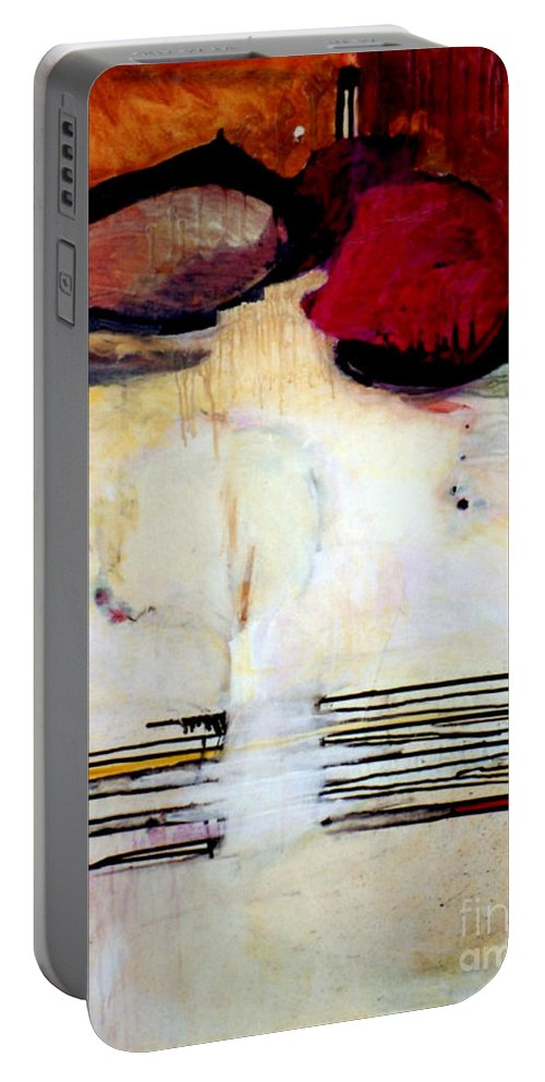 Abstract Portable Battery Charger featuring the mixed media Sausalito Leap Of Faith by Marlene Burns