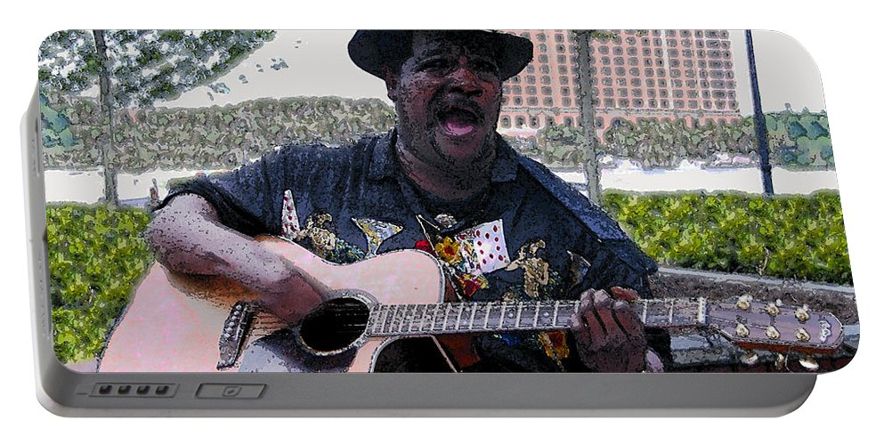 Blues Portable Battery Charger featuring the painting Savanna Blues Man by David Lee Thompson