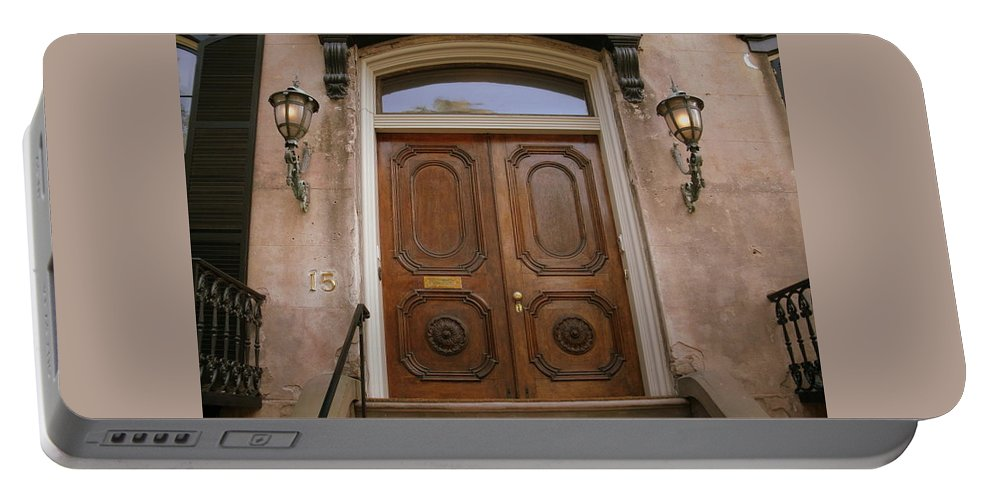 Portable Battery Charger featuring the photograph Savannah Doors I by Jacqueline Manos