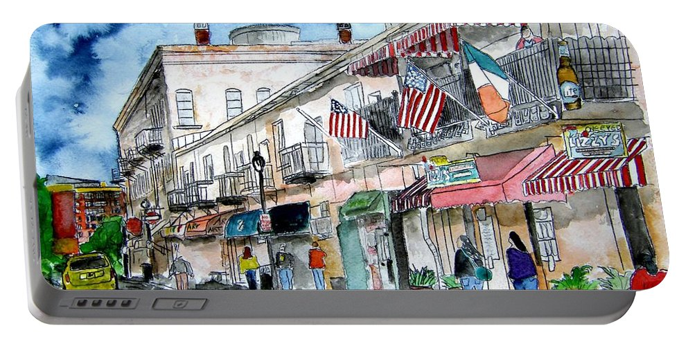 Pen And Ink Portable Battery Charger featuring the painting Savannah Georgia River Street by Derek Mccrea