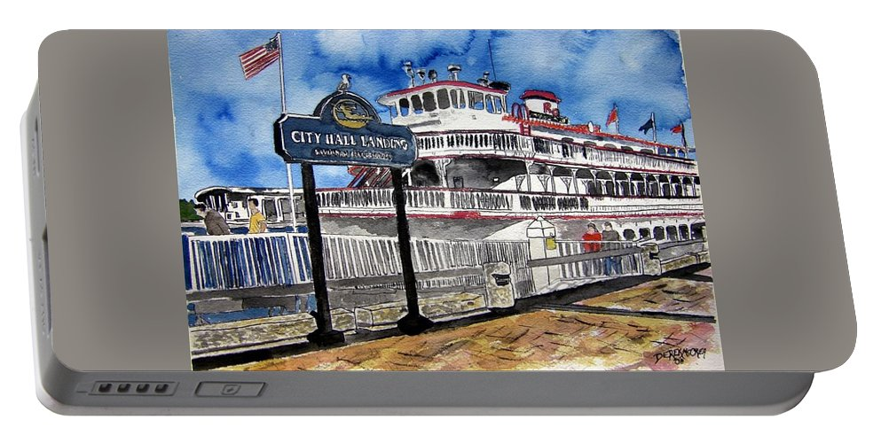 Savannah Portable Battery Charger featuring the painting Savannah River Queen Boat Georgia by Derek Mccrea