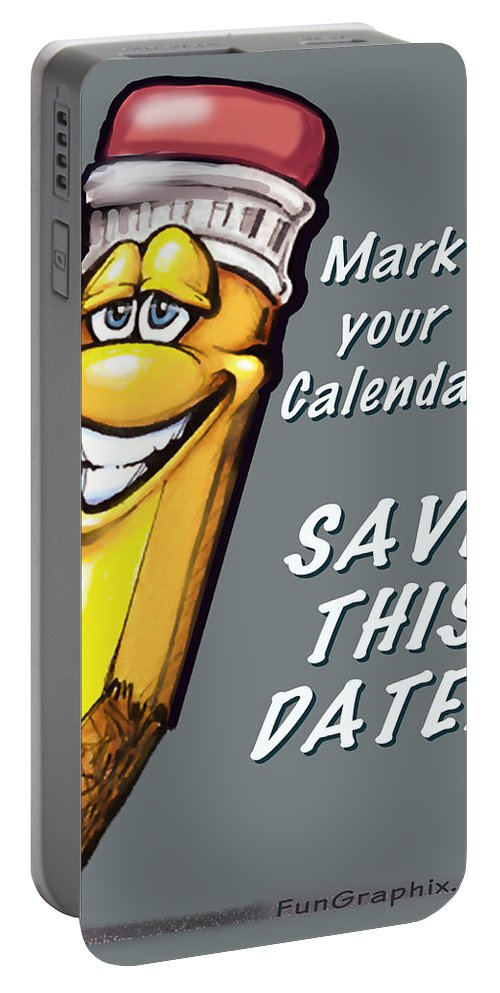 Calendar Portable Battery Charger featuring the greeting card Save This Date by Kevin Middleton
