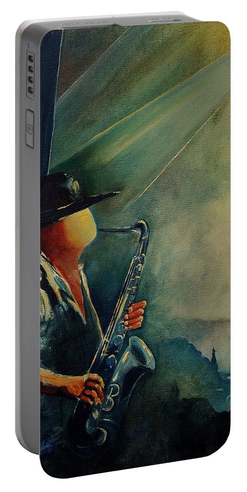 Music Portable Battery Charger featuring the painting Sax Player by Pol Ledent