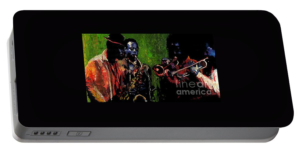Jazz Portable Battery Charger featuring the painting Saxophon Players. by Yuriy Shevchuk