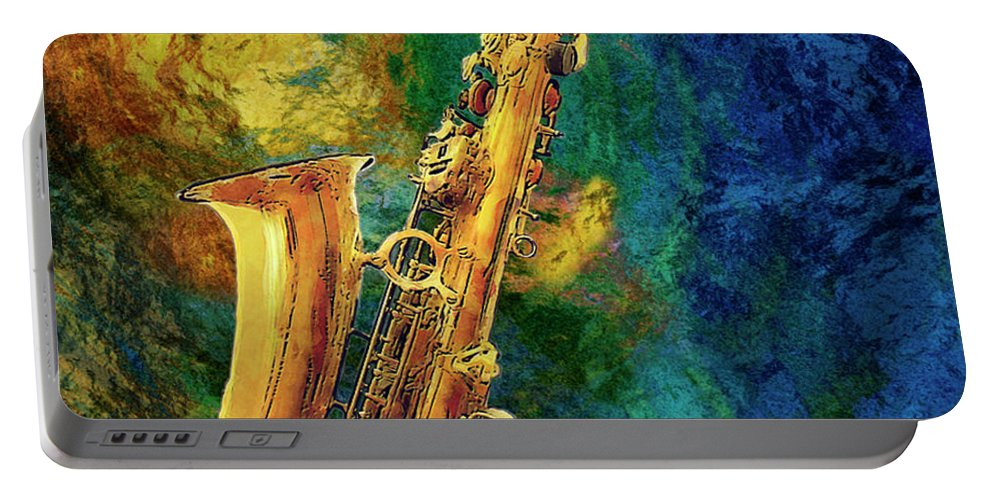 Saxophone Portable Battery Charger featuring the painting Saxophone by Jack Zulli