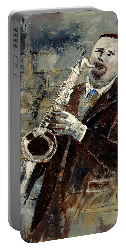 Music Portable Battery Charger featuring the painting Saxplayer 570120 by Pol Ledent