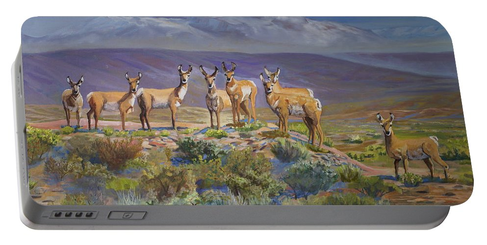 Antelope Portable Battery Charger featuring the painting Say Cheese Antelope by Heather Coen