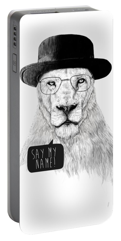 Lion Portable Battery Charger featuring the mixed media Say my name by Balazs Solti