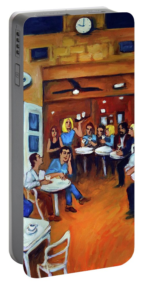 Sidewalk Cafe Portable Battery Charger featuring the painting Sazio by Valerie Vescovi