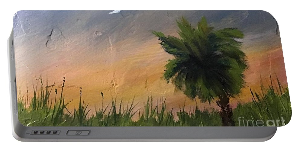 Sunset Portable Battery Charger featuring the painting Sc Sunset by Jerry Walker