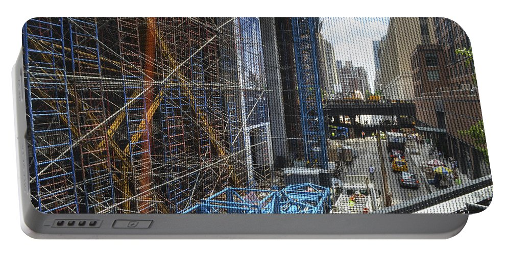 Abstract Portable Battery Charger featuring the photograph Scaffolding In The City by Erik Burg