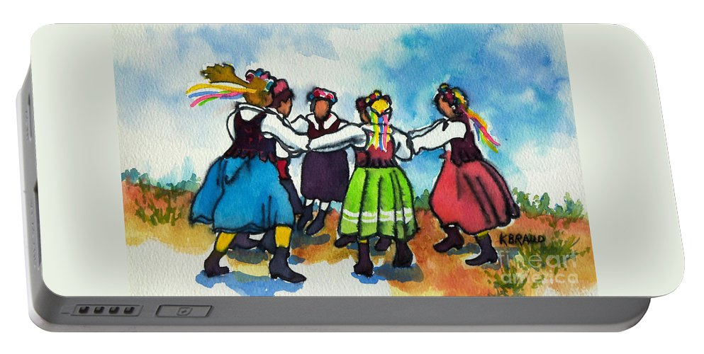 Paintings Portable Battery Charger featuring the painting Scandinavian Dancers by Kathy Braud