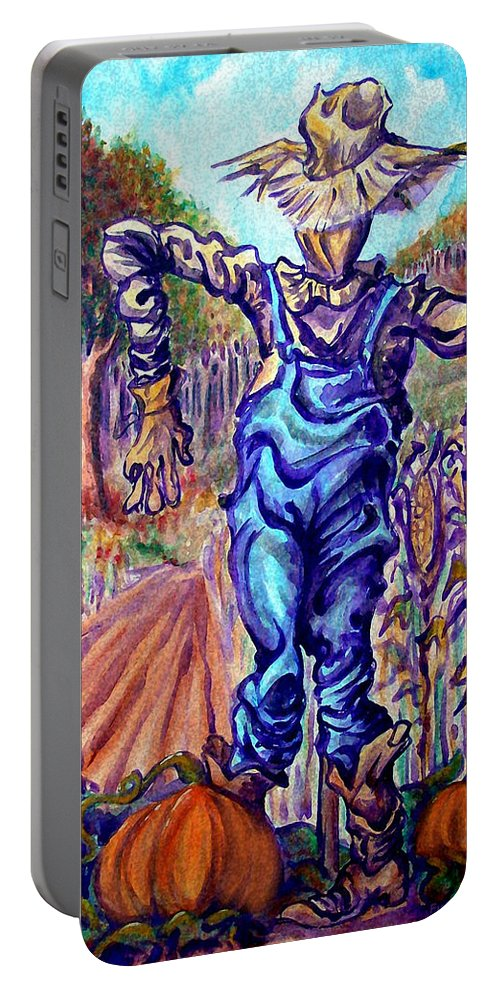 Scarecrow Portable Battery Charger featuring the painting Scarecrow by Kevin Middleton