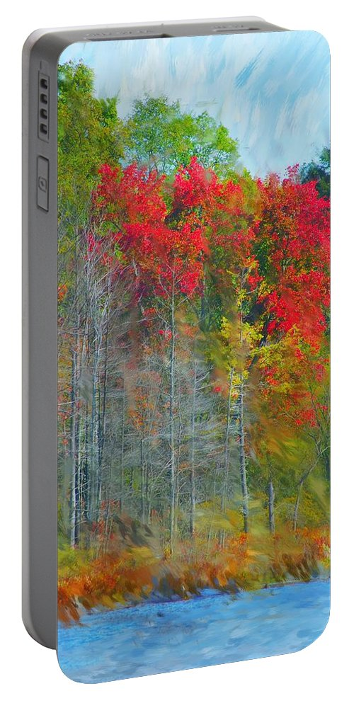 Landscape Portable Battery Charger featuring the digital art Scarlet Autumn Burst by David Lane