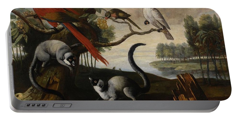 Circle Of Tobias Stranover Lemurs Portable Battery Charger featuring the painting Scarlet Macaw by MotionAge Designs
