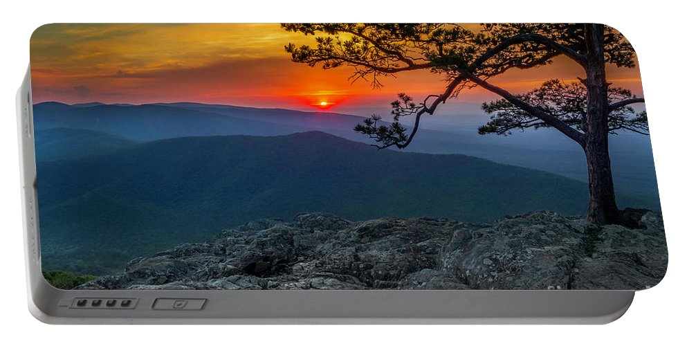 Ravens Portable Battery Charger featuring the photograph Scarlet Sky At Ravens Roost by Karen Jorstad