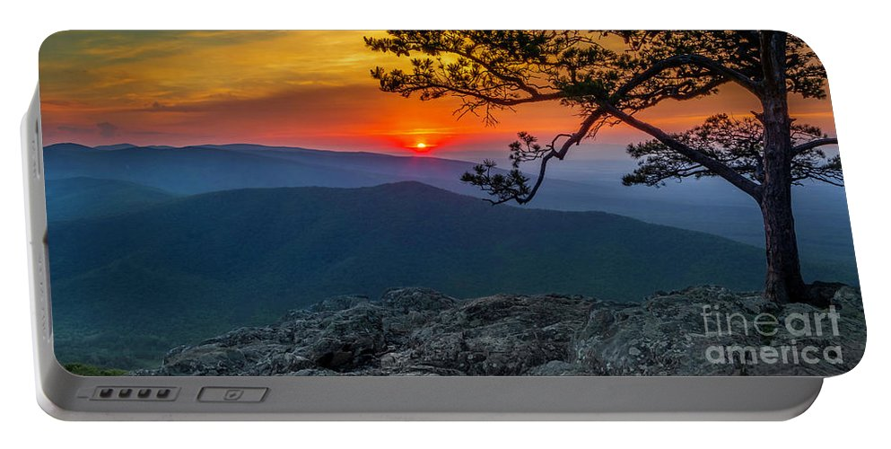 Ravens Portable Battery Charger featuring the photograph Scarlet Sky At Ravens Roost Panorama I by Karen Jorstad
