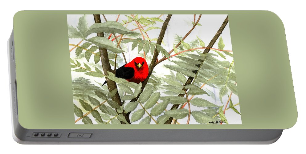 Bird Portable Battery Charger featuring the painting Scarlet Tanager by Mary Tuomi