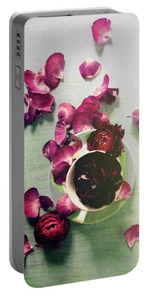 Petals Portable Battery Charger featuring the photograph Scattered Dreams by Olivia StClaire