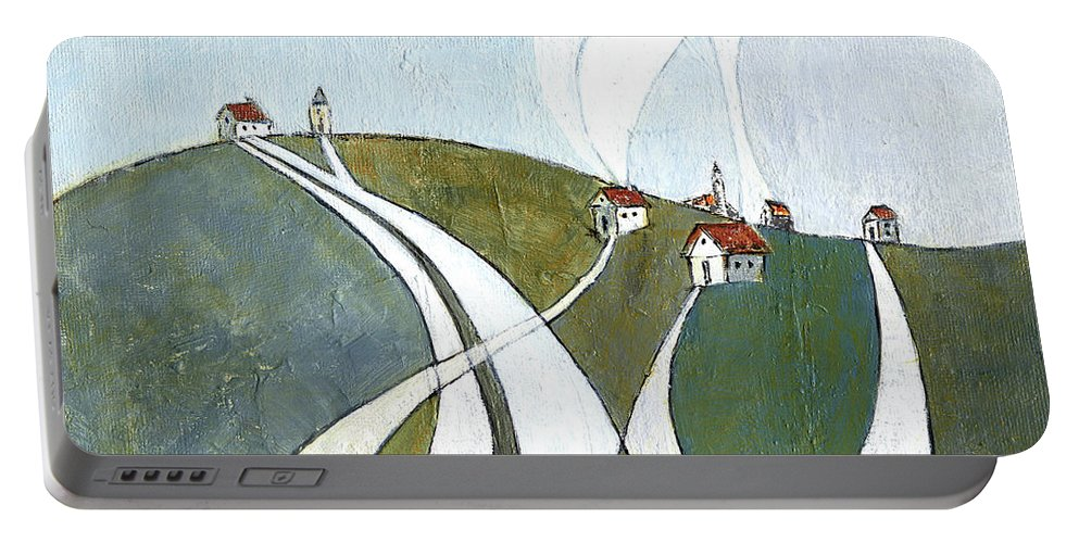 Painting Portable Battery Charger featuring the painting Scattered Houses by Aniko Hencz
