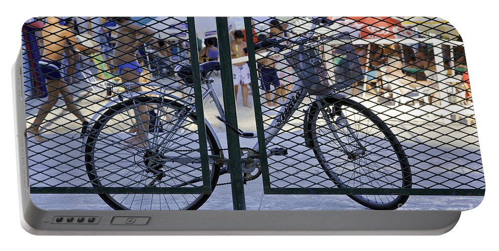 Bicycle Portable Battery Charger featuring the photograph Scene Through The Gate by Madeline Ellis