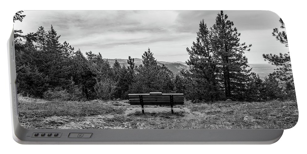 Black And White Portable Battery Charger featuring the photograph Scenic Bench In Black And White by Michael Putthoff