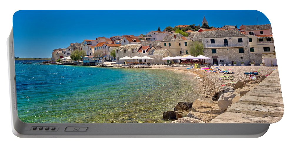 Croatia Portable Battery Charger featuring the photograph Scenic Mediterranean Beach In Primosten by Brch Photography