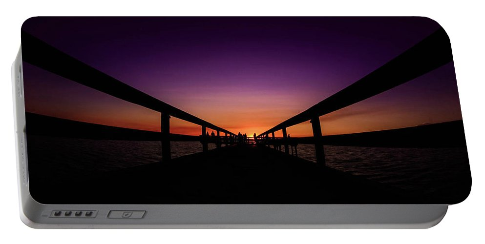 Landscape Minimalist Photograph Portable Battery Charger featuring the photograph Scenic Moment At Sunset by Dan Zarate