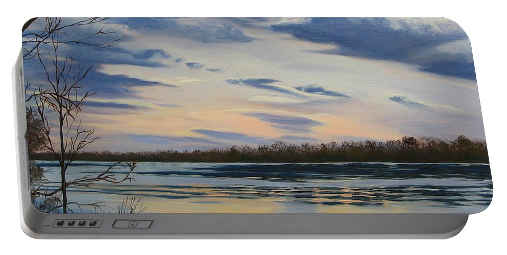 Clouds Portable Battery Charger featuring the painting Scenic Overlook - Delaware River by Lea Novak