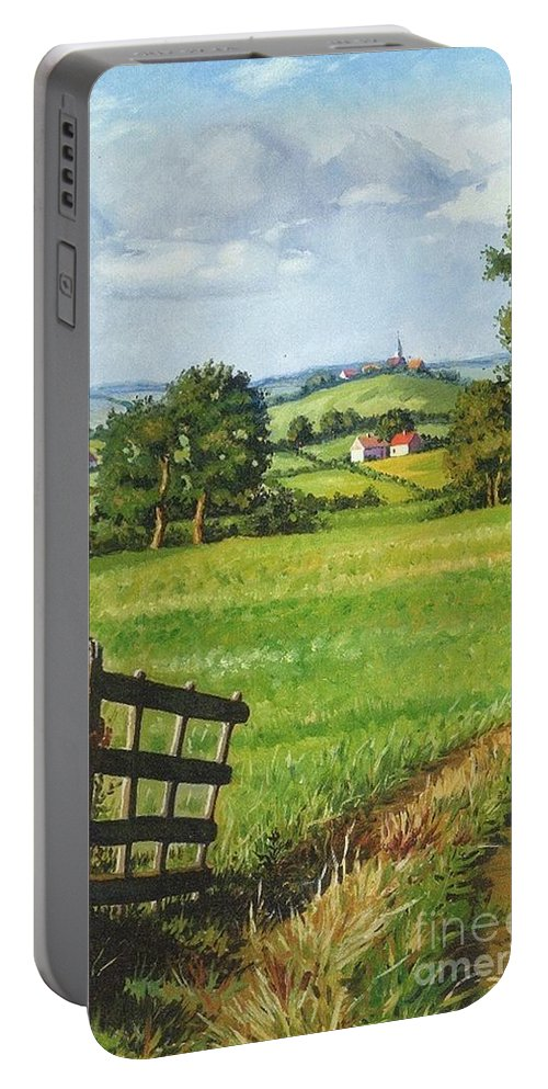 Print Portable Battery Charger featuring the painting Scenic View by Margaryta Yermolayeva